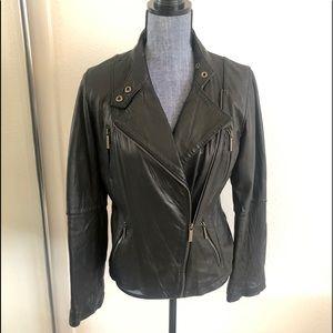 Michael Kors Black Leather Moto/Biker Jacket
